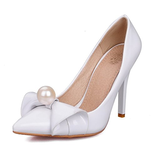 VogueZone009 Women's Solid PU High-Heels Pointed Closed Toe Pull-On Pumps-Shoes White RC43cO