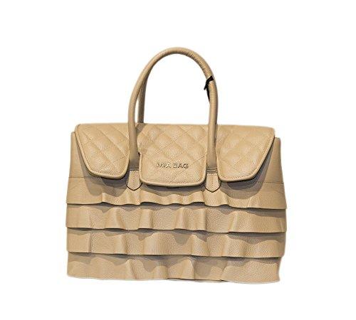 Mia Bag Due Manici Leather Taupe Trapuntata Con Rouche Art. 17341 007