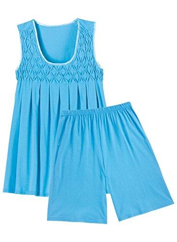 AmeriMark Sleeveless Knit Shorty PJ Blue