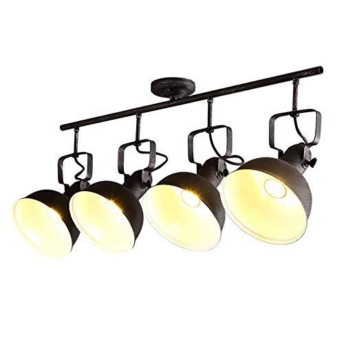 Jiafum Luces de Mesa de Billar Negras rusticas, arana de Sombrero de Metal Industrial para Sala Comedor Mesa de Billar Luces de Isla (4 Cabezas de lampara)