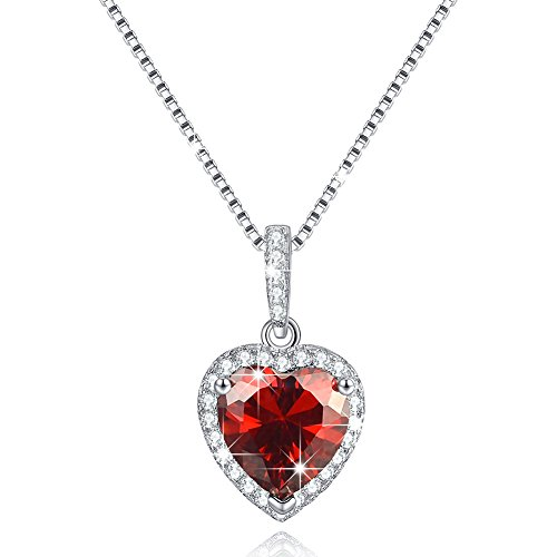 Heart garnet necklace amazon shape of my heart created january birthstone necklace jewelry simulated garnet sterling silver necklace love heart necklace birthday wedding anniversary mozeypictures Images