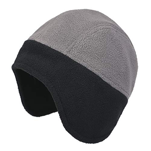 Flammi Men Fleece Earflap Hat Beanie Warm (Grey/Black)