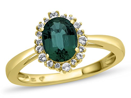 Finejewelers 10k Yellow Gold 8x6mm Oval Created Emerald with White Topaz accent stones Halo Ring Size 5