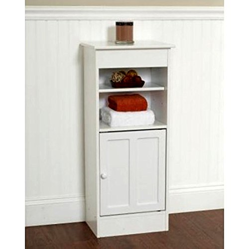 Narrow Bathroom Shelf Stand Cabinet, White Vanity Cabinet Enclosed ...