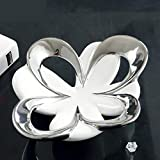 BeesClover Flower Shaped Ceramics Fruits Plate Decorative Porcelain Serving Platter Dinnerware Ornament Gift and Craft for Home and Office White and Silver