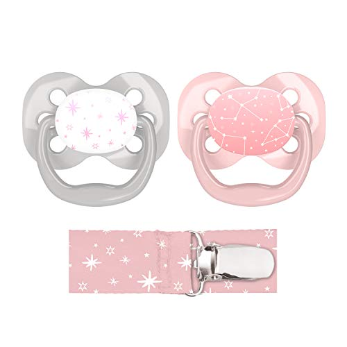 Dr. Browns Advantage Pacifier with Pacifier Clip, 0-6M, Pink, 2 Count