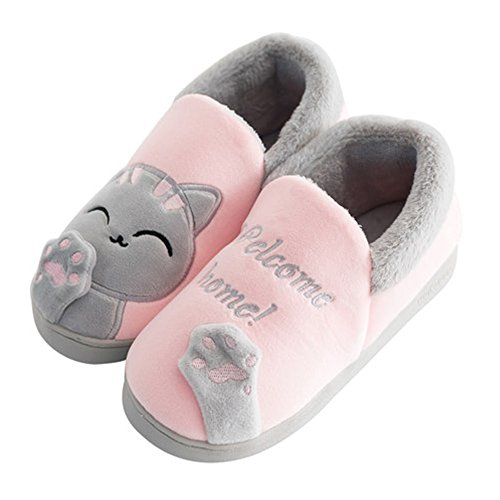 SITAILE Winter House Slippers, Men Women Plush Cartoon Non Slip Cute Home Slippers Winter Warm Indoor Shoes, Pink-1 38-39