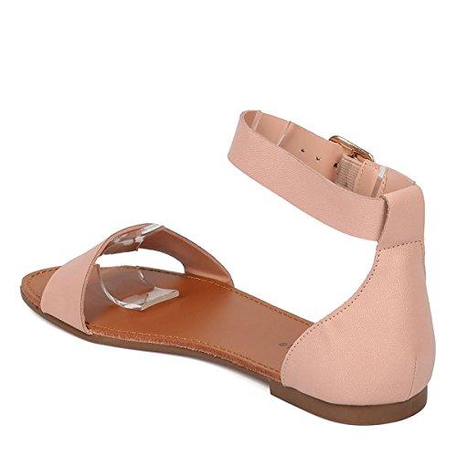 Breckelles Womens Open Teen Gesp Enkelbandje Gladiator Platte Sandalen Schoenen Blush