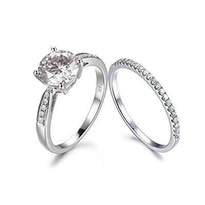 2 Moissanite Wedding Ring Set,7.5mm Round Cut 14k White Gold,Half Eternity Diamond Bridal Band Promise