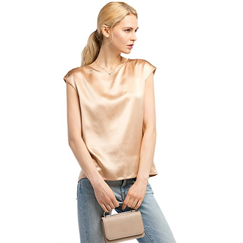 LilySil Silk Blouse for Women Short Sleeve Summer Cool Comfy Charmeuse Silk Tops for Ladies Light Camel L/12