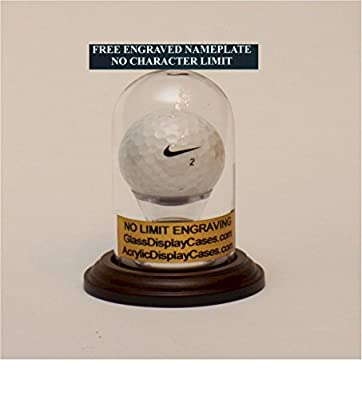 Golf Ball Personalized Hole in One Glass Display Case Round Dome with Walnut Finish Wood Base - Free Engraved Nameplate