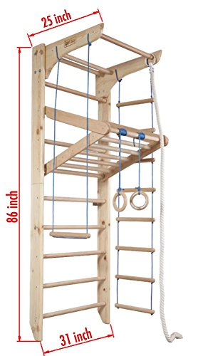 "Wall Bars for Kids, Wood Stall Bar, Wooden Swedish Ladder,Kinder 4"" Certificate of Safe USE Home Gym Gymnastic, Climbing Kids, Indoor Children Playground 87"" x31.5"