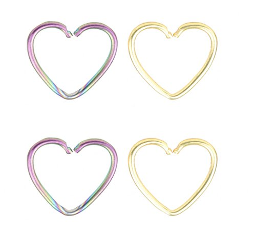 22G nose ring nose hoop Heart Shaped cartilage hoop earrings set cartilage earrings stud ear -