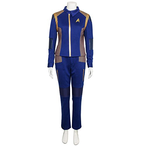 Partyever Trek Discovery Commander Uniform 2017 New Starfleet USS Captain Lorca Cosplay Costume Halloween Star Outfit (Custom Made, Women)