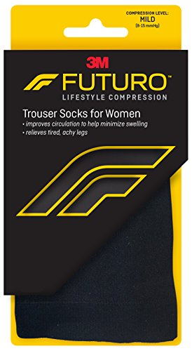 Futuro Energizing Trouser Socks for Women, Mild Compression, Knee High, Large, Black