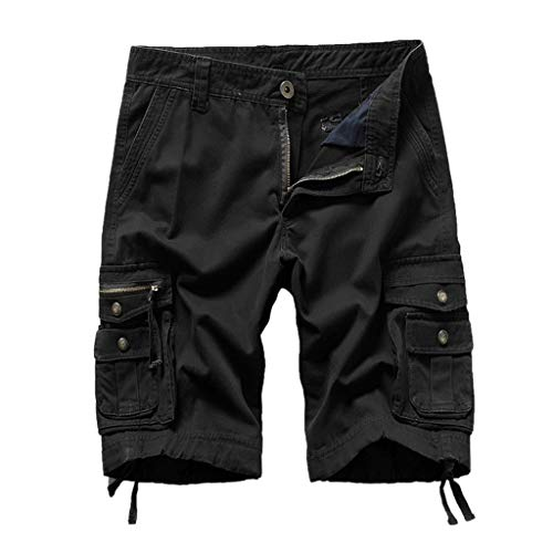 iYBUIA Men's Summer Casual Large Size Solid Outdoor Button Zipper Pocket Beach Work Pants Cargo Shorts M-4XL Black