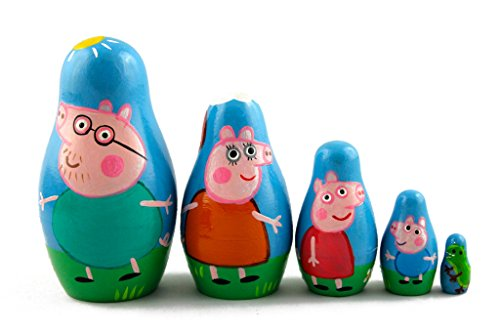 Matryoshka Matrioska Babuska Russian Nesting Wooden Doll Peppa Pig Matryoshika Babushka 5 Pcs Stacking Hand Painting Beautiful Nested Craft Matriosjka Matrioska Matreshka Matrjoska Matroeska