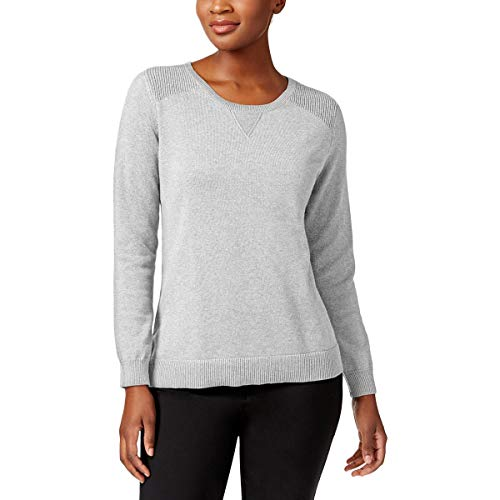 (Karen Scott Womens Knit Crew Neck Pullover Sweater Gray M)