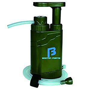 Boston Fortis Explorer Pro – Multifunctional Portable Outdoor Water Filter Purifier 0.1 Micron for Camping, Hiking, Backpacking, Traveling and Prepping, with 5 Additional Emergency Features