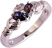 Veunora 925 Sterling Silver Created Tourmaline Gemstone Filled Claddagh Love Ring for Women