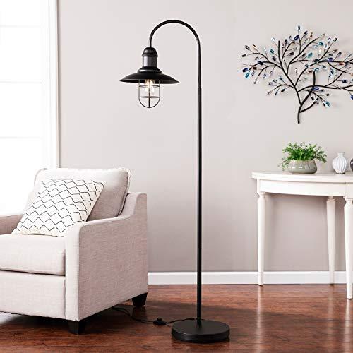 Arced Lighting Arc Floor Lamp Black Light Fixture Standing Bedroom Lights Indoor Incandescent Lantern Style, Metal ()