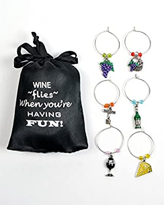 Wine and Grapes Wine Glass Charms, Hand Painted - Set of 6 with Sateen Storage Bag