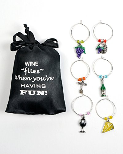 Cork Tags (Wine and Grapes Wine Glass Charms, Hand Painted - Set of 6 with Sateen Storage Bag)