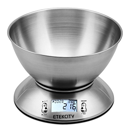 Etekcity 11lb/5kg Kitchen Scales, Stainless Steel Digital Cooking Food Scales with Detachable Mixing Bowl, Ambient Temperature Sensor and Kitchen Timer...