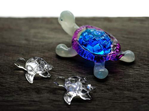(ChangThai Design 3 Pcs Aquarium Cute Blue Purple Turtle HandBowl Glass Dollhouse Miniatures Decoration Figurine)