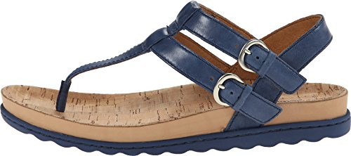 Born Reta Leather T-Strap Sandals, 10M, Marine