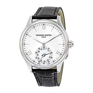 Frederique Constant Men's Horological Smart Watch Stainless Steel Swiss-Quartz Leather Calfskin Strap, Silver, 21 (Model: FC-285S5B6)