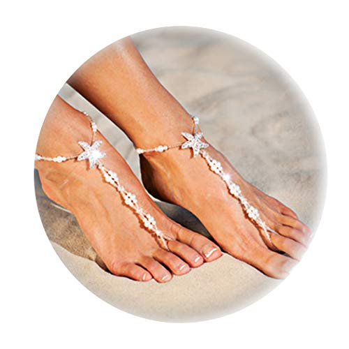 Gudukt Bohomian Starfish Anklet Handmade Beaded Pearls Foot Chain Beach Anklet Jewelry for women