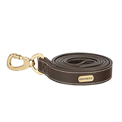 DOGNESS Leather Dog Leash, Full Grain Genuine Leather, Swivel Patented Locking Carabiner, Brown, 4 ft Long, for Training Walking Small Medium Large Dogs, Matching Collar Sold Separately