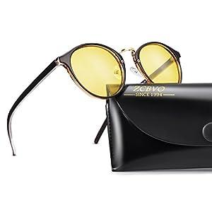 Night Vision Glasses Anti-glare Polarized Driving Sunglasses Round Fashion Sun Glasses for women&men(C5)