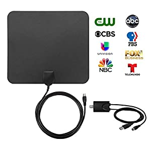 Amplified TV Antenna for Digital TV Indoor - 50 Miles HDTV Antenna 1080P with Detachable Signal Booster and 10ft Coaxial Cable, Black