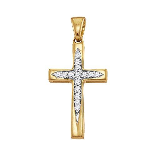 Gold Unisex Diamond Cross - 10KT Yellow Gold Round Diamond Christian Cross Pendant 0.09 Cttw