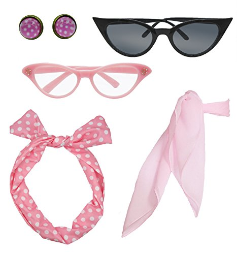 Retro 1950s Polka Dot Style Scarf Glasses Headband and Earrings Costume Accessories Set (One Size, (Rings Costume Accessories)