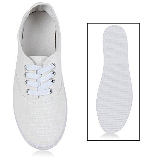 Basic Damen und Herren Sneakers | Komfortable Begleiter für jeden Tag| Bequeme Gummisohle |Gr. 36-45 Total Weiss