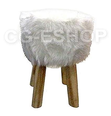 Puf Taburete D Muebles redonda rústico estilo tirolés de madera y ...