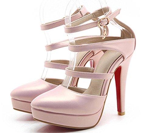 YCMDM Womens artificiale PU High Heel Salsa Tango ballo latino Monk Strap Sandals di ballo di sera del partito da sposa , pink , 34