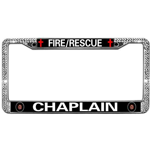 License Plate Cover White Crystal Rhinestone Premium Anodized Aluminum License Plate Holder Fire Rescue Chaplain Automotive License Plate Frame Fits US & Canadian -