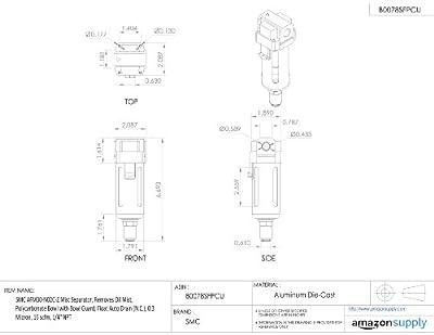 SMC AFM Series Mist Separator, Removes Oil Mist, Polycarbonate Bowl with Bowl Guard