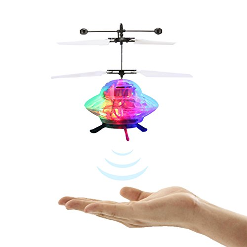 REALACC Flying UFO Helicopter Ball Mini Helicopter Infrared Induction Helicopter with Led Light RC Toy RC Flying Ball RC Infrared Induction for Kid Teenagers
