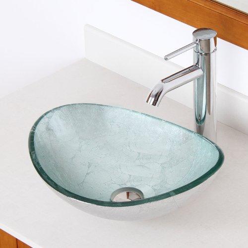 ELITE Unique Oval Silver Tempered Glass Bathroom Vessel Sink Chrome Single Lever Faucet Combo