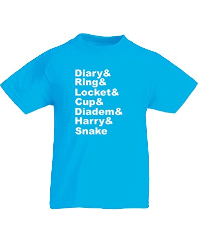 Seven Horcruxes, Kids Printed T-Shirt - Azure/White 3-4 Years