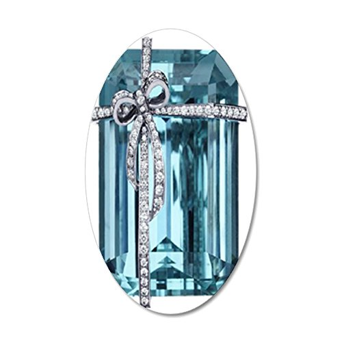 (CafePress - Blue-Brooch_469_iPhone_Trans - 35x21 Oval Wall Decal, Vinyl Wall Peel, Reusable Wall Cling )