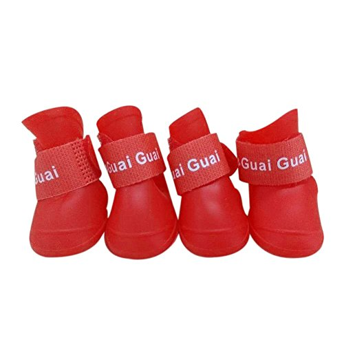 Boomboom Candy Color Pet Dog Boots Waterproof Rubber Pet Rain Shoes Booties (XL, Red) from Boomboom