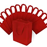8x4x10' 12 Pcs. Medium-Small Red Reusable Tote Bags, Grocery Bags, Fabric Shopping Bags with Handles Eco Friendly- 100% Recyclable Bag