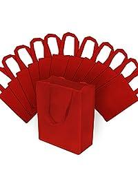 8 x 4 x 10 pulgadas, 12 unidades. Bolsas de regalo reutilizables de tamaño mediano, bolsas de fiesta, bolsas de comestibles, bolsas de compras, bolsas de boutique, Rojo, 8Wx10L