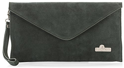 Evening Cotton Leah LiaTalia Italian Envelope Clutch Lining Bag Green Deep Suede Leather Bzq0I